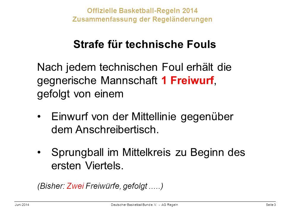 Seite 3Deutscher Basketball Bund e. V. - AG RegelnJuni 2014 Offizielle Basketball-Regeln 2014 Zusammenfassung der Regeländerungen Strafe für technisch