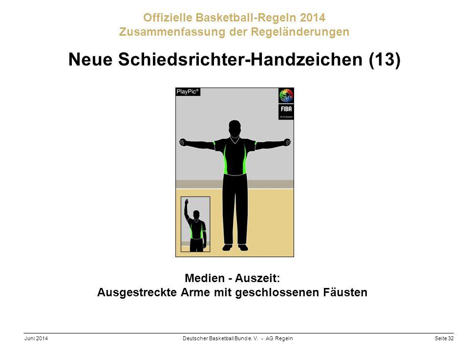 Seite 32Deutscher Basketball Bund e. V. - AG RegelnJuni 2014 Offizielle Basketball-Regeln 2014 Zusammenfassung der Regeländerungen Neue Schiedsrichter