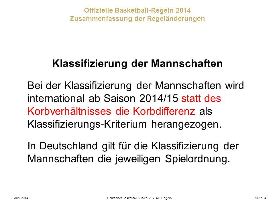 Seite 34Deutscher Basketball Bund e. V. - AG RegelnJuni 2014 Offizielle Basketball-Regeln 2014 Zusammenfassung der Regeländerungen Klassifizierung der