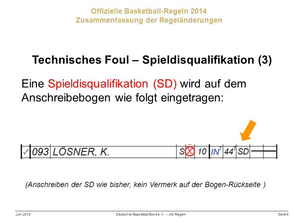 Seite 6Deutscher Basketball Bund e. V. - AG RegelnJuni 2014 Offizielle Basketball-Regeln 2014 Zusammenfassung der Regeländerungen Technisches Foul – S
