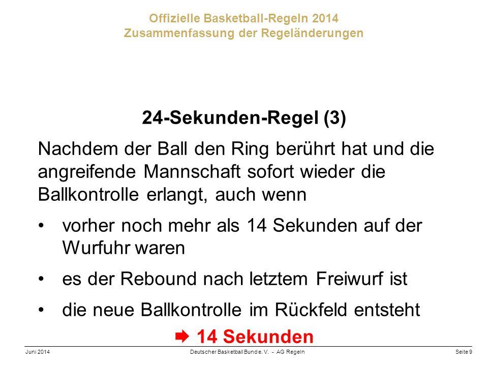 Seite 9Deutscher Basketball Bund e. V. - AG RegelnJuni 2014 Offizielle Basketball-Regeln 2014 Zusammenfassung der Regeländerungen 24-Sekunden-Regel (3