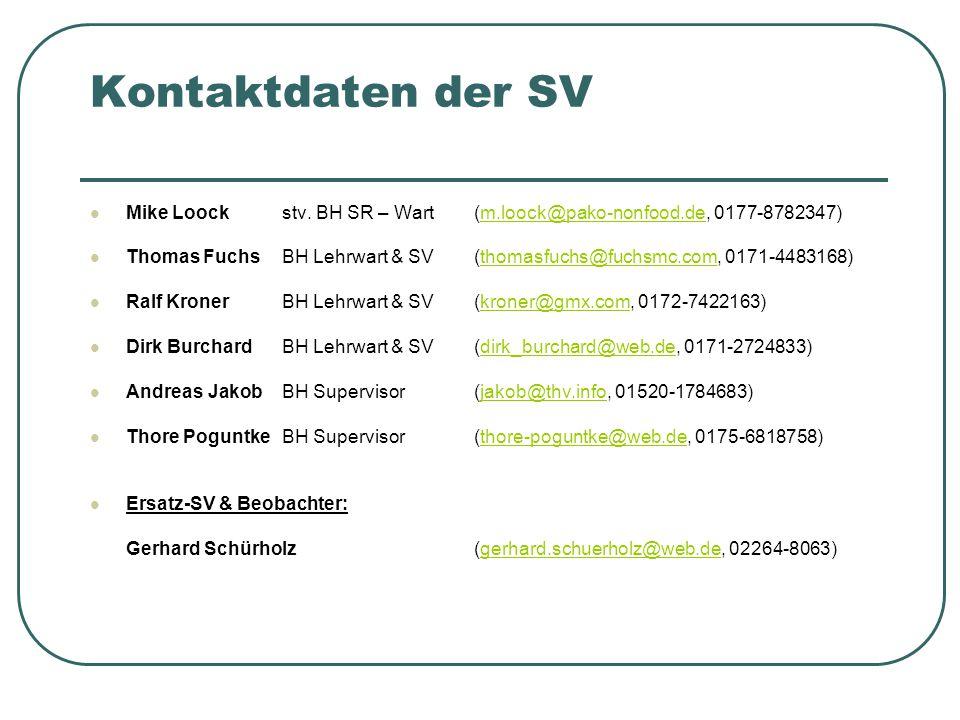 Kontaktdaten der SV Mike Loockstv. BH SR – Wart(m.loock@pako-nonfood.de, 0177-8782347) Thomas FuchsBH Lehrwart & SV(thomasfuchs@fuchsmc.com, 0171-4483