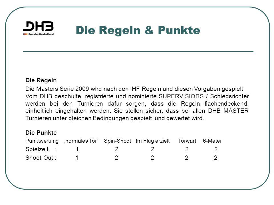 Die Regeln & Punkte Die Regeln Die Masters Serie 2009 wird nach den IHF Regeln und diesen Vorgaben gespielt. Vom DHB geschulte, registrierte und nomin