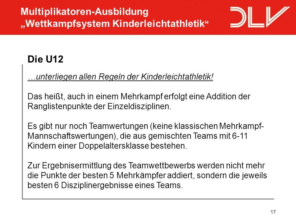 17 Die U12 …unterliegen allen Regeln der Kinderleichtathletik! Das heißt, auch in einem Mehrkampf erfolgt eine Addition der Ranglistenpunkte der Einze
