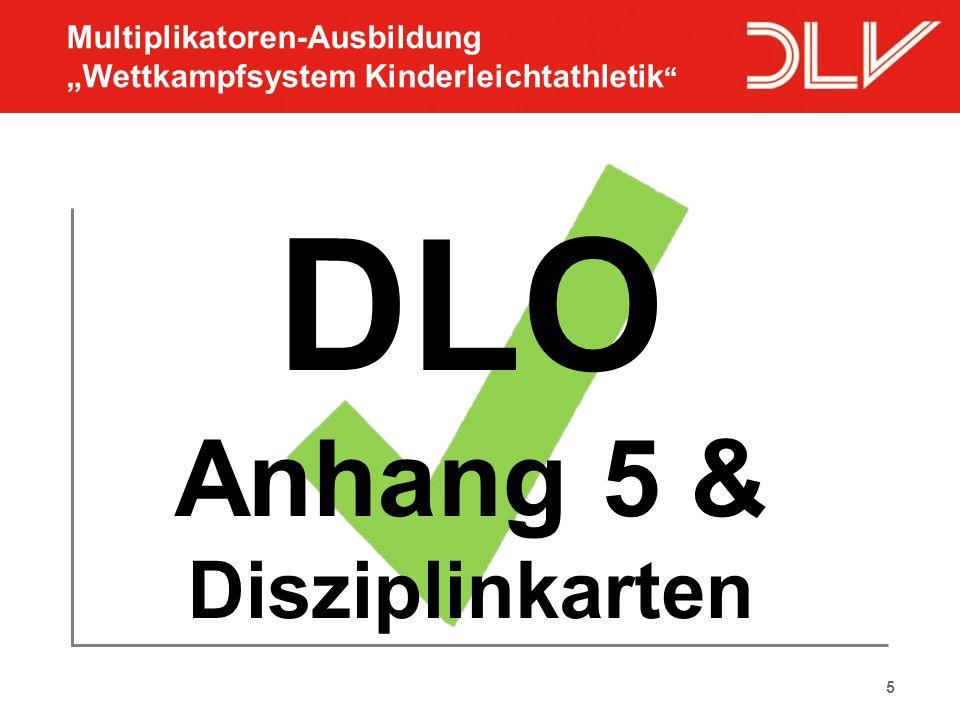 """5 DLO Anhang 5 & Disziplinkarten Multiplikatoren-Ausbildung """"Wettkampfsystem Kinderleichtathletik """""""