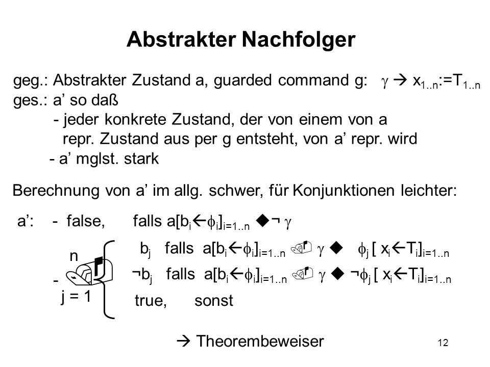 12 Abstrakter Nachfolger geg.: Abstrakter Zustand a, guarded command g:   x 1..n :=T 1..n ges.: a' so daß - jeder konkrete Zustand, der von einem v