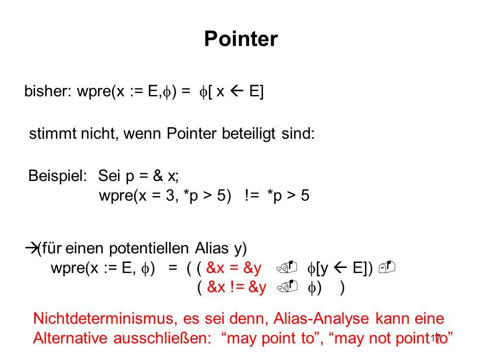 17 Pointer bisher: wpre(x := E,  ) =  [ x  E] stimmt nicht, wenn Pointer beteiligt sind: Beispiel: Sei p = & x; wpre(x = 3, *p > 5) != *p > 5  (fü