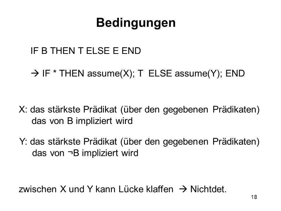 18 Bedingungen IF B THEN T ELSE E END  IF * THEN assume(X); T ELSE assume(Y); END X: das stärkste Prädikat (über den gegebenen Prädikaten) das von B