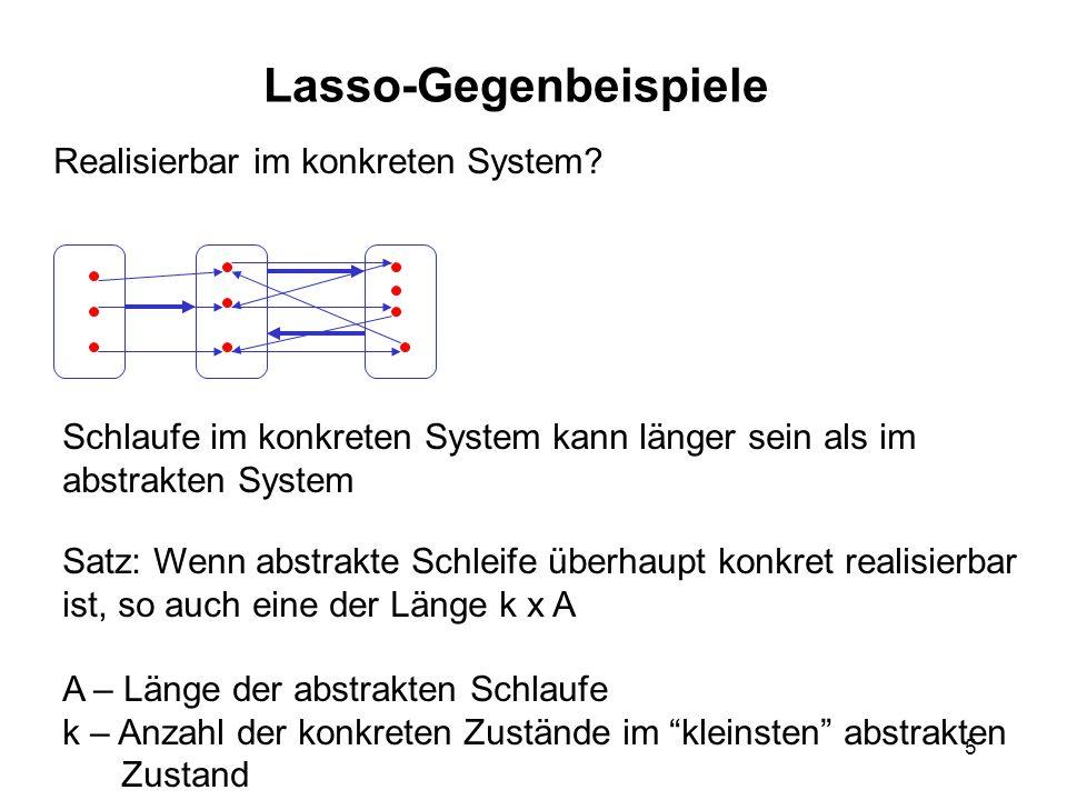 5 Lasso-Gegenbeispiele Realisierbar im konkreten System? Schlaufe im konkreten System kann länger sein als im abstrakten System Satz: Wenn abstrakte S