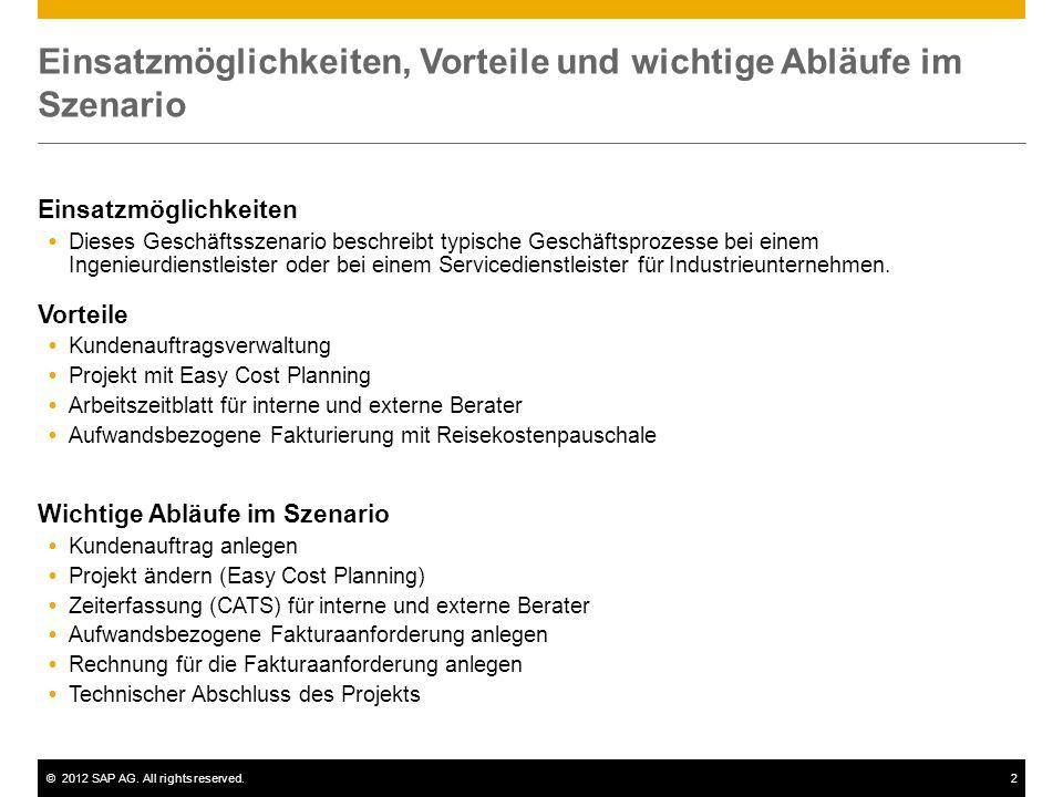 ©2012 SAP AG. All rights reserved.2 Einsatzmöglichkeiten, Vorteile und wichtige Abläufe im Szenario Einsatzmöglichkeiten  Dieses Geschäftsszenario be