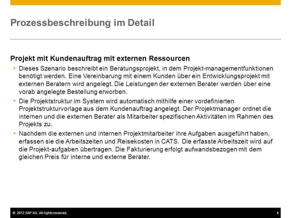 ©2012 SAP AG. All rights reserved.4 Prozessbeschreibung im Detail Projekt mit Kundenauftrag mit externen Ressourcen  Dieses Szenario beschreibt ein B