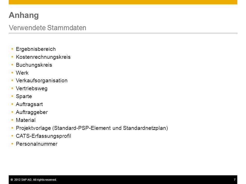 ©2012 SAP AG. All rights reserved.7 Anhang Verwendete Stammdaten  Ergebnisbereich  Kostenrechnungskreis  Buchungskreis  Werk  Verkaufsorganisatio