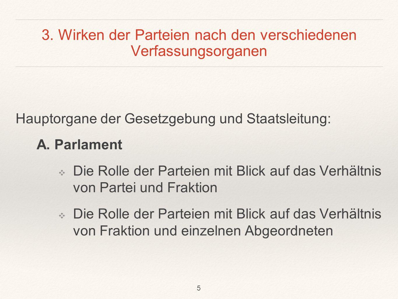 3. Wirken der Parteien nach den verschiedenen Verfassungsorganen Hauptorgane der Gesetzgebung und Staatsleitung: A. Parlament ❖ Die Rolle der Parteien