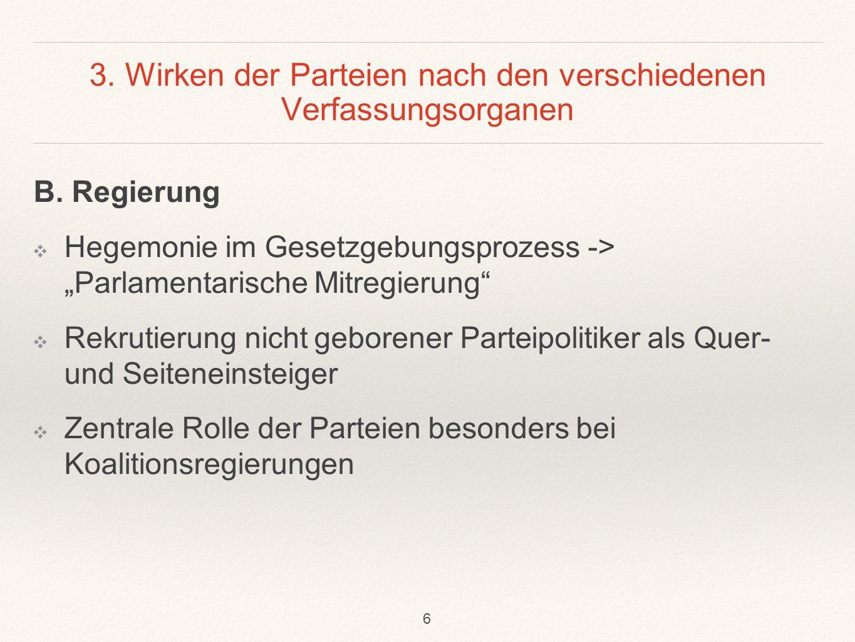 3.Wirken der Parteien nach den verschiedenen Verfassungsorganen B.