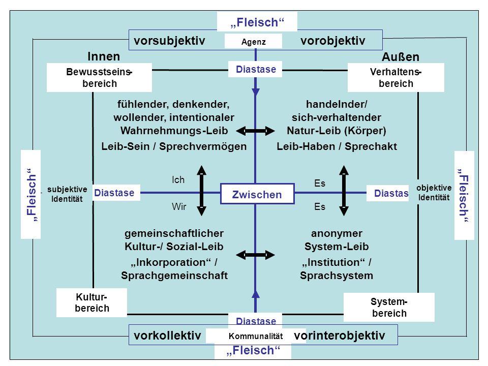 """c anonymer System-Leib """"Institution / Sprachsystem gemeinschaftlicher Kultur-/ Sozial-Leib """"Inkorporation / Sprachgemeinschaft handelnder/ sich-verhaltender Natur-Leib (Körper) Leib-Haben / Sprechakt fühlender, denkender, wollender, intentionaler Wahrnehmungs-Leib -Sein / Sprechvermögen Innen Außen Ich Es WirEs Zwischen vorsubjektiv vorobjektiv Diastase """"Fleisch """" Diastase """" Fleisch Bewusstseins- bereich Verhaltens- bereich Kultur- bereich System- bereich Agenz Kommunalität vorkollektivvorinterobjektiv subjektive Identität objektive Identität """" Fleisch"""