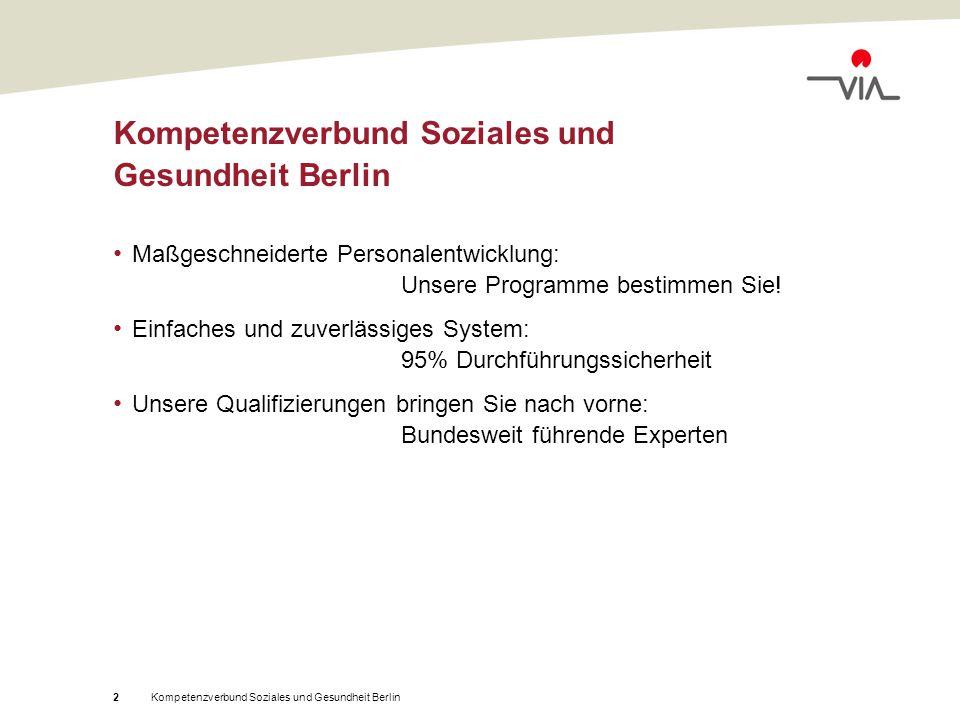 Kompetenzverbund Soziales und Gesundheit Berlin3 Im Kompetenzverbund Soziales und Gesundheit Berlin haben sich Träger aus unterschiedlichen sozialen Bereichen zusammengeschlossen, um gemeinsam ein qualitativ hochwertiges und ideal auf den Bedarf der Verbundmitglieder zugeschnittenes Qualifizierungsprogramm anzubieten.