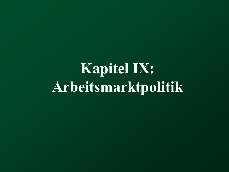 Kapitel IX: Arbeitsmarktpolitik