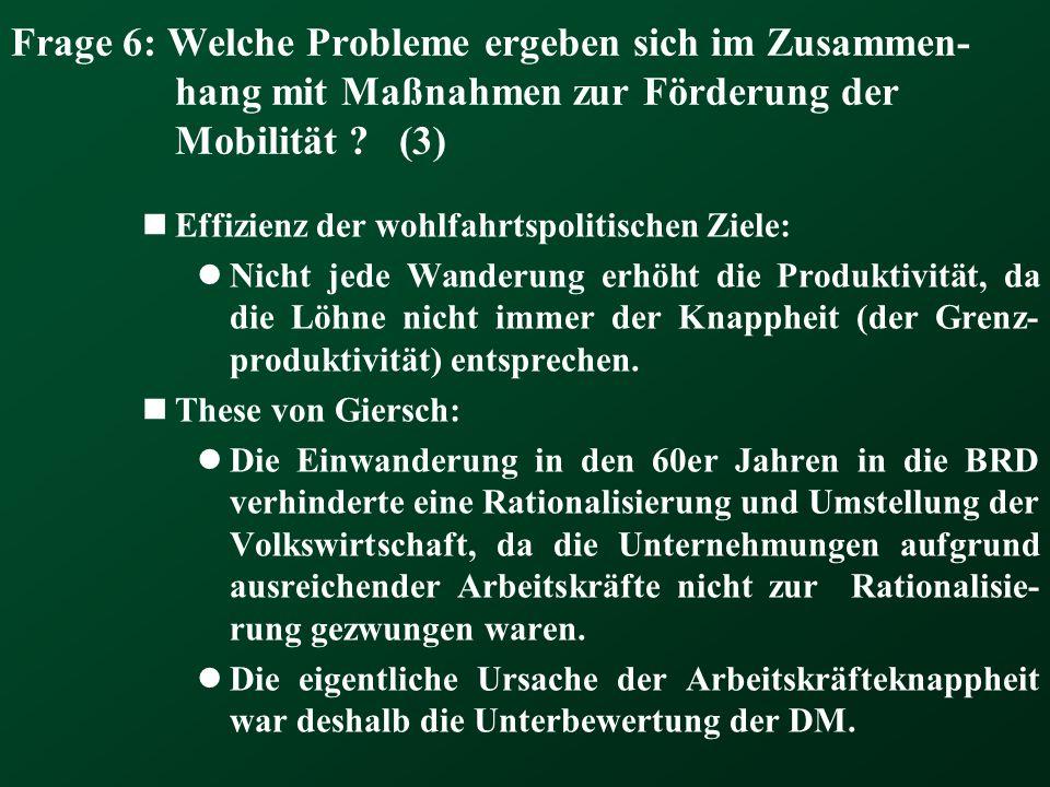 Frage 6: Welche Probleme ergeben sich im Zusammen- hang mit Maßnahmen zur Förderung der Mobilität ? (3) Effizienz der wohlfahrtspolitischen Ziele: Nic