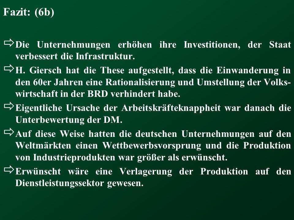 Fazit: (6b)  Die Unternehmungen erhöhen ihre Investitionen, der Staat verbessert die Infrastruktur.  H. Giersch hat die These aufgestellt, dass die