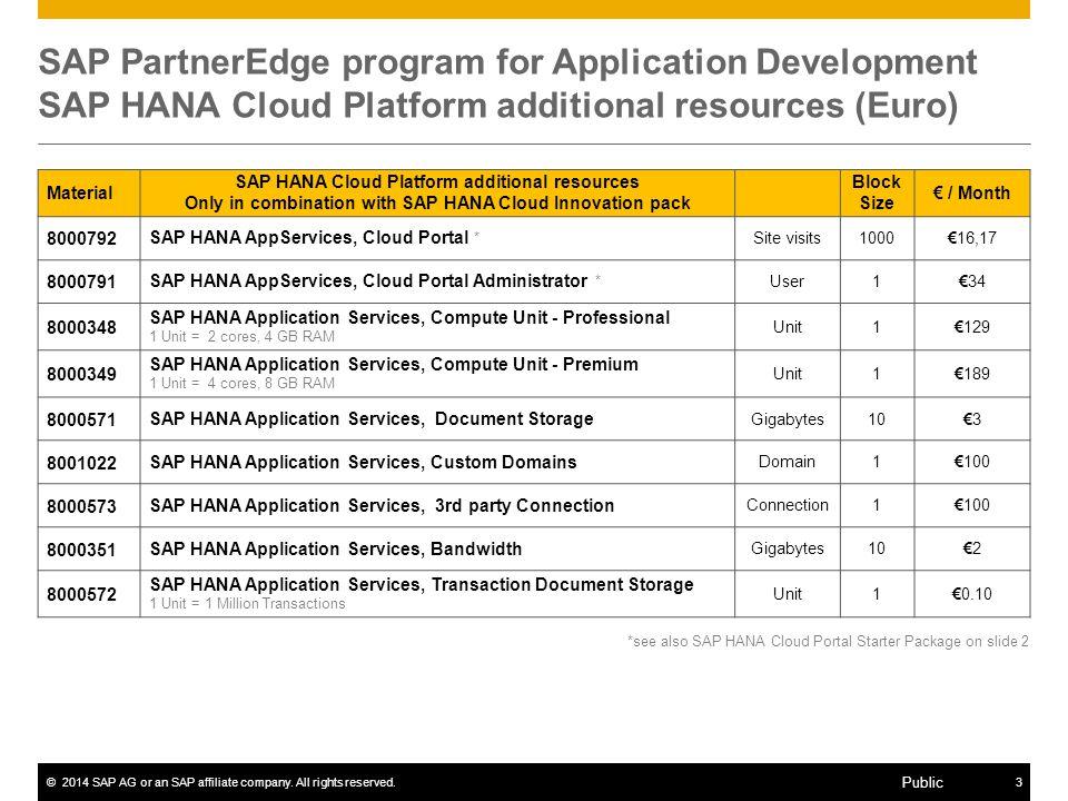 ©2014 SAP AG or an SAP affiliate company. All rights reserved.3 Public SAP PartnerEdge program for Application Development SAP HANA Cloud Platform add