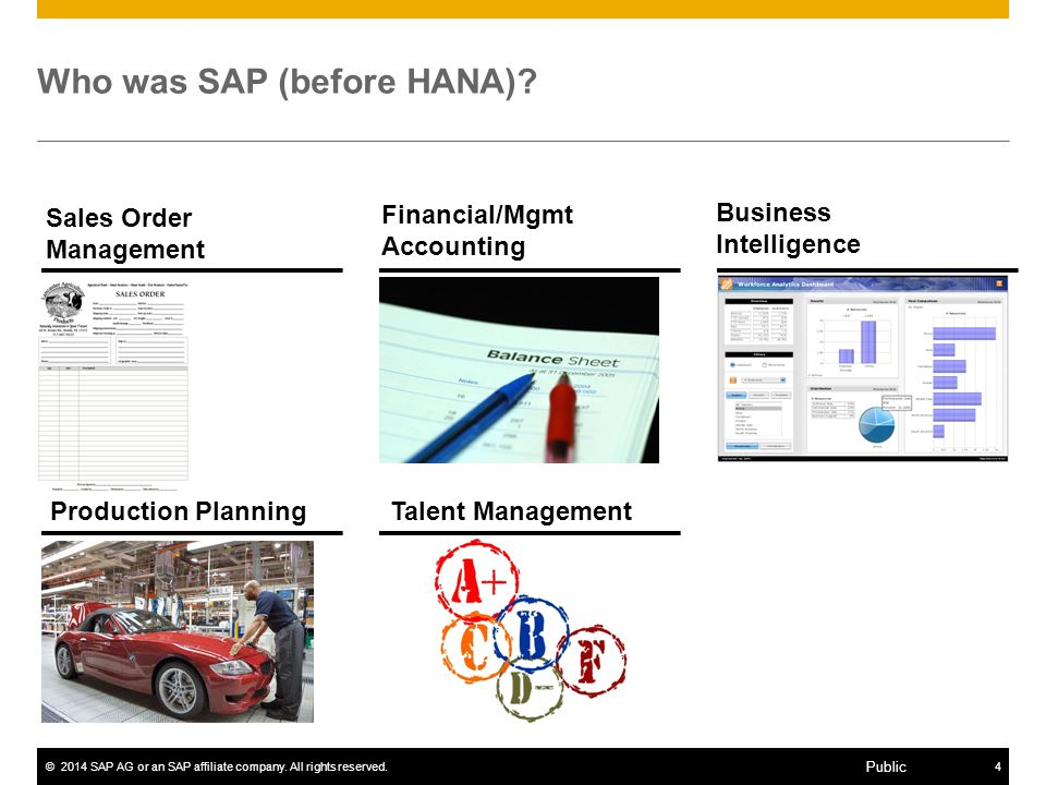 ©2014 SAP AG or an SAP affiliate company.All rights reserved.4 Public Who was SAP (before HANA).