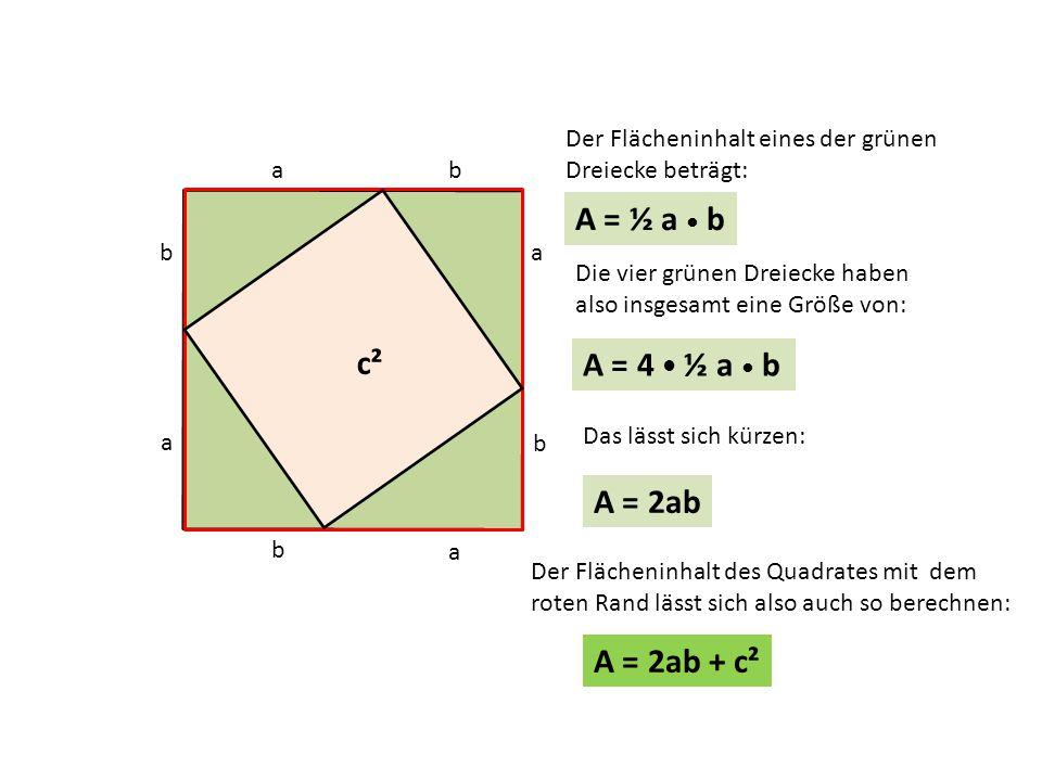 c b a b a b a a c b Der Flächeninhalt eines der grünen Dreiecke beträgt: A = ½ a b Die vier grünen Dreiecke haben also insgesamt eine Größe von: A = 4 ½ a b A = 2ab Das lässt sich kürzen: Der Flächeninhalt des Quadrates mit dem roten Rand lässt sich also auch so berechnen: A = 2ab + c² c²
