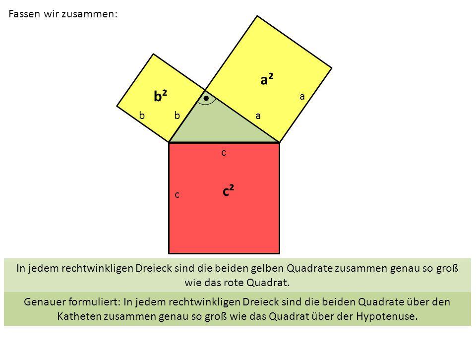 c ba c b a a² b² c² Fassen wir zusammen: In jedem rechtwinkligen Dreieck sind die beiden gelben Quadrate zusammen genau so groß wie das rote Quadrat.