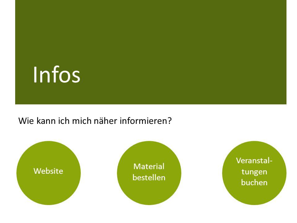 Wie kann ich mich näher informieren? Material bestellen Website Veranstal- tungen buchen Infos