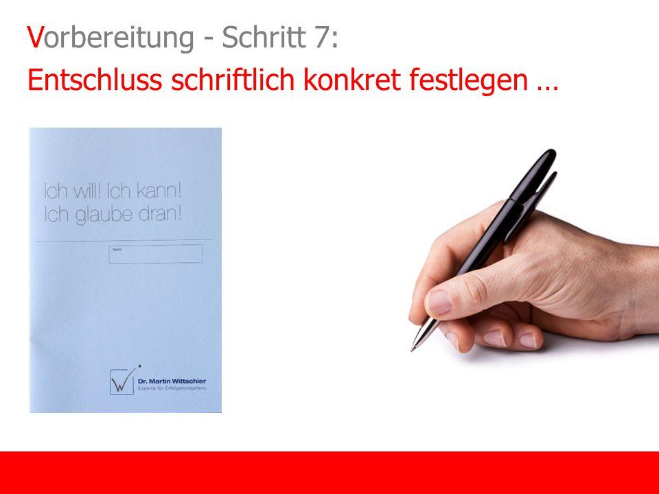 Vorbereitung - Schritt 7: Entschluss schriftlich konkret festlegen …
