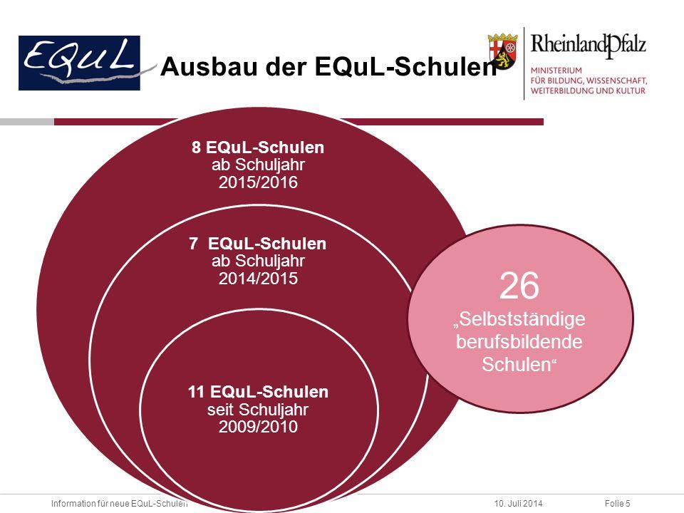 Folie 5Information für neue EQuL-Schulen10. Juli 2014 Ausbau der EQuL-Schulen 8 EQuL-Schulen ab Schuljahr 2015/2016 7 EQuL-Schulen ab Schuljahr 2014/2