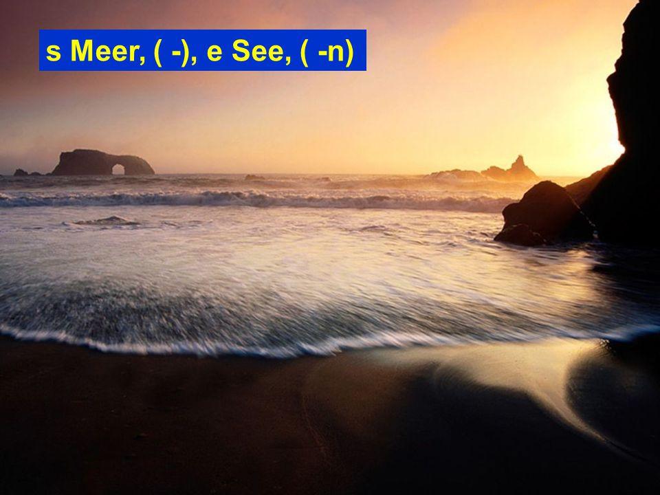 s Meer, ( -), e See, ( -n)