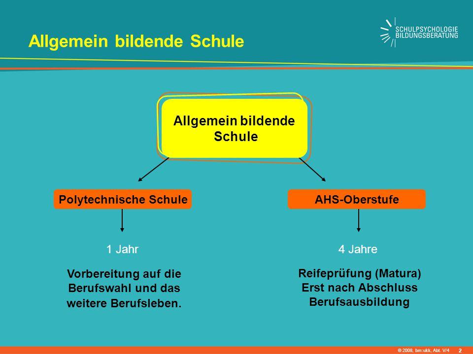 © 2008, bm:ukk, Abt. V/4 Allgemein bildende Schule Vorbereitung auf die Berufswahl und das weitere Berufsleben. 1 Jahr Reifeprüfung (Matura) Erst nach
