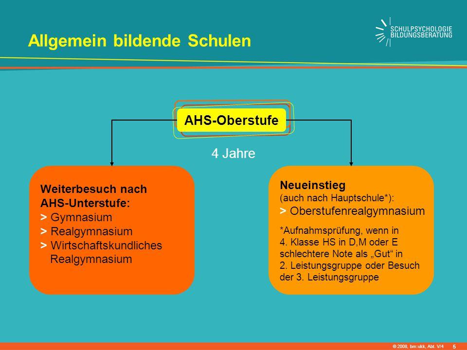 © 2008, bm:ukk, Abt. V/4 Allgemein bildende Schulen 4 Jahre Weiterbesuch nach AHS-Unterstufe: > Gymnasium > Realgymnasium > Wirtschaftskundliches Real