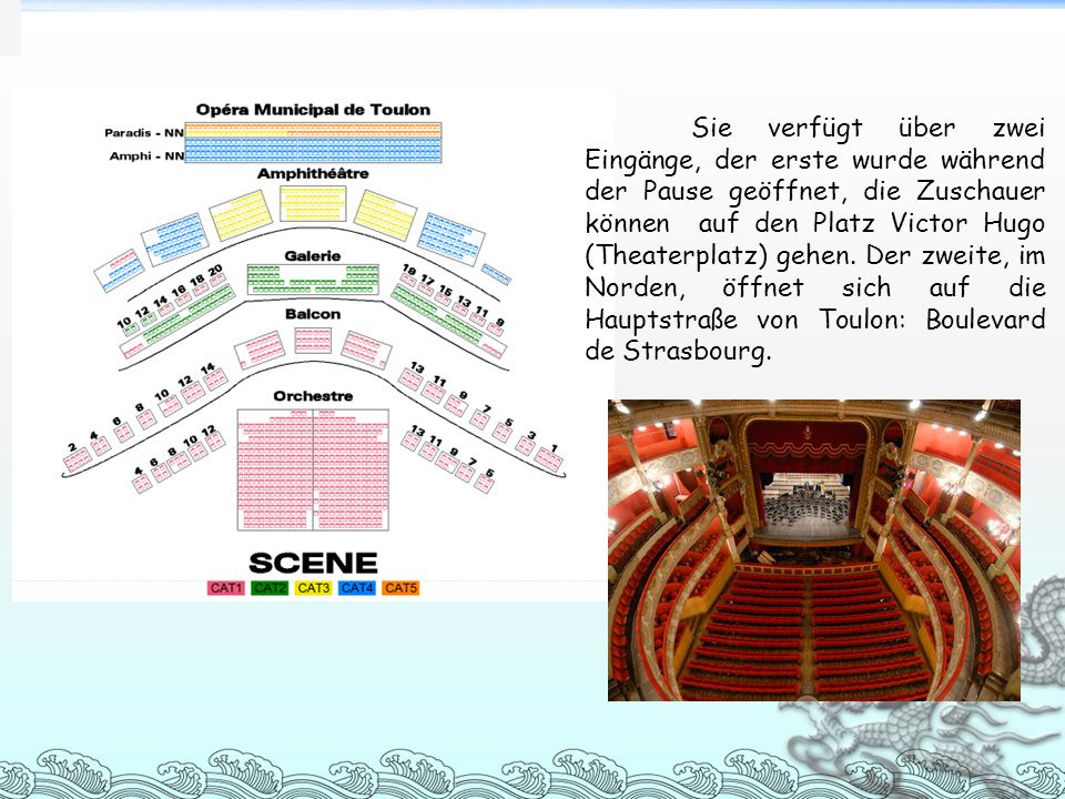 Sie verfügt über zwei Eingänge, der erste wurde während der Pause geöffnet, die Zuschauer können auf den Platz Victor Hugo (Theaterplatz) gehen. Der z