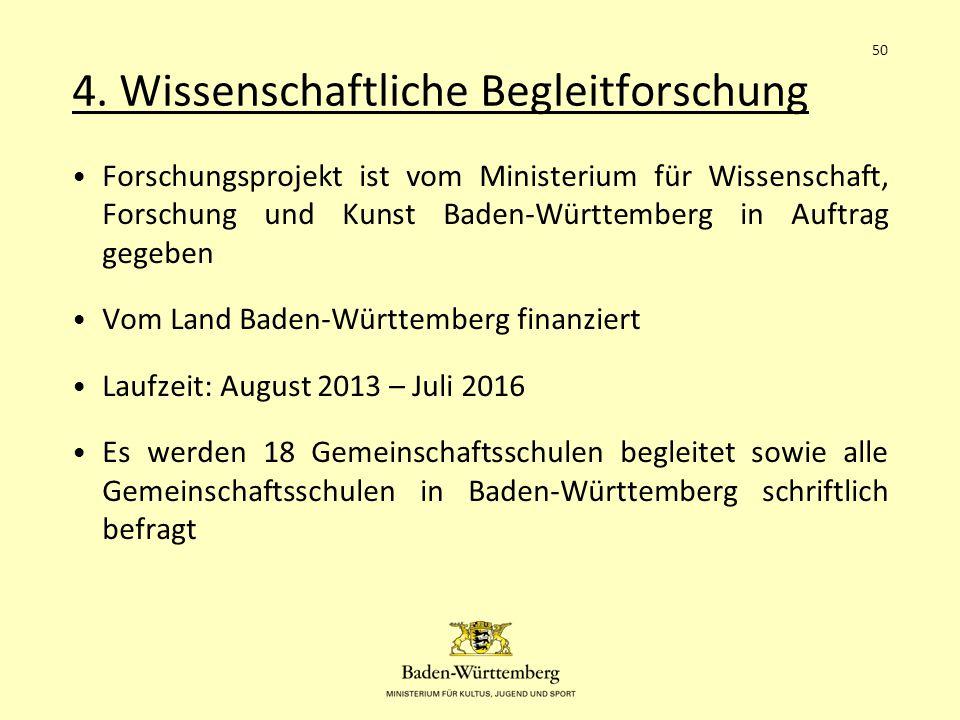 4. Wissenschaftliche Begleitforschung Forschungsprojekt ist vom Ministerium für Wissenschaft, Forschung und Kunst Baden-Württemberg in Auftrag gegeben
