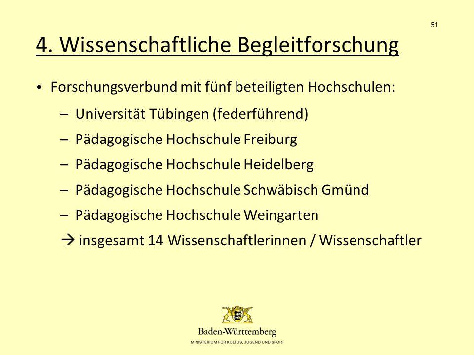 4. Wissenschaftliche Begleitforschung Forschungsverbund mit fünf beteiligten Hochschulen: –Universität Tübingen (federführend) –Pädagogische Hochschul