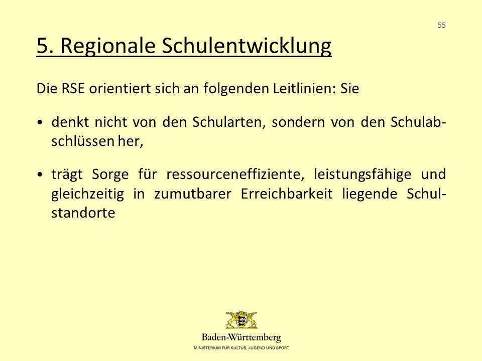 5. Regionale Schulentwicklung Die RSE orientiert sich an folgenden Leitlinien: Sie denkt nicht von den Schularten, sondern von den Schulab- schlüssen