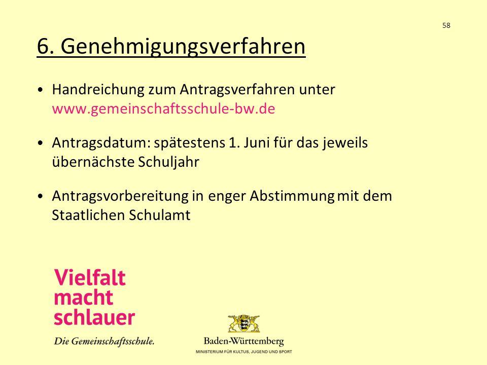 6. Genehmigungsverfahren Handreichung zum Antragsverfahren unter www.gemeinschaftsschule-bw.de Antragsdatum: spätestens 1. Juni für das jeweils übernä