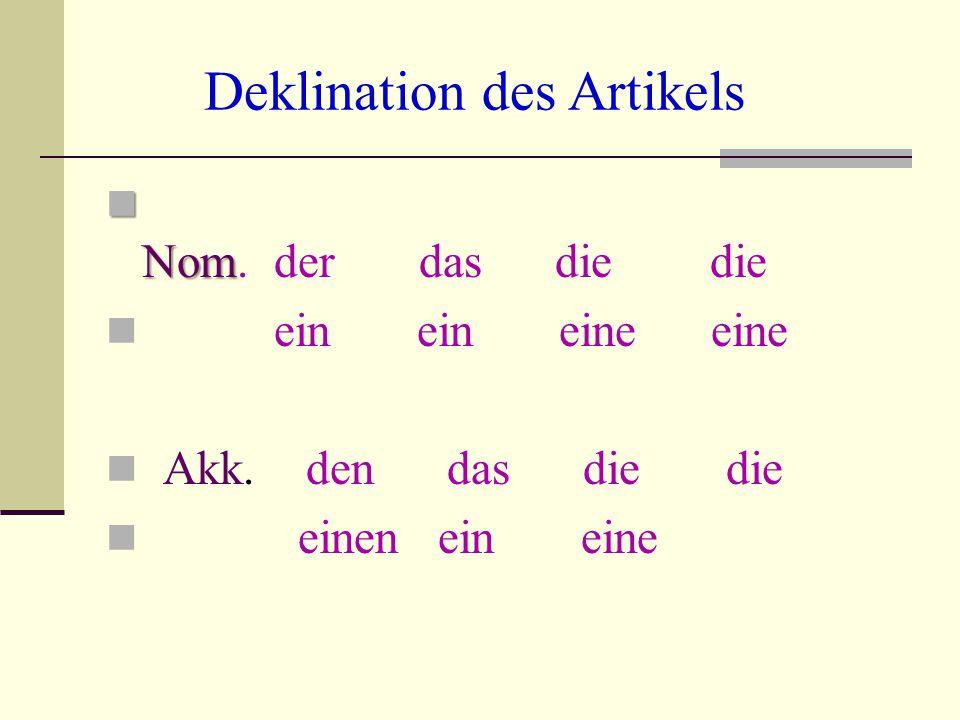 Deklination des Artikels Nom Nom. der das die die ein ein eine eine Akk. den das die die einen ein eine