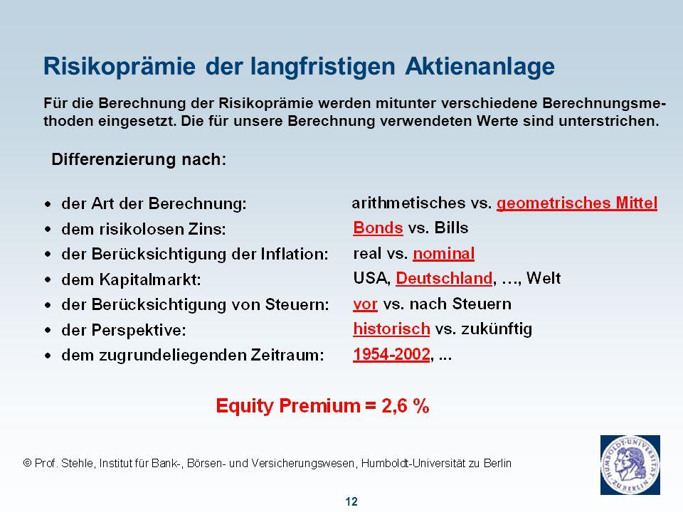 12 Risikoprämie der langfristigen Aktienanlage Für die Berechnung der Risikoprämie werden mitunter verschiedene Berechnungsme- thoden eingesetzt. Die