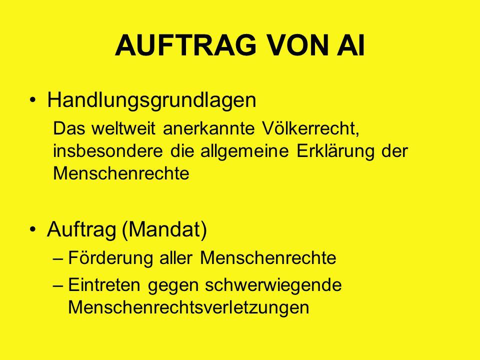 AUFTRAG VON AI Handlungsgrundlagen Das weltweit anerkannte Völkerrecht, insbesondere die allgemeine Erklärung der Menschenrechte Auftrag (Mandat) –För