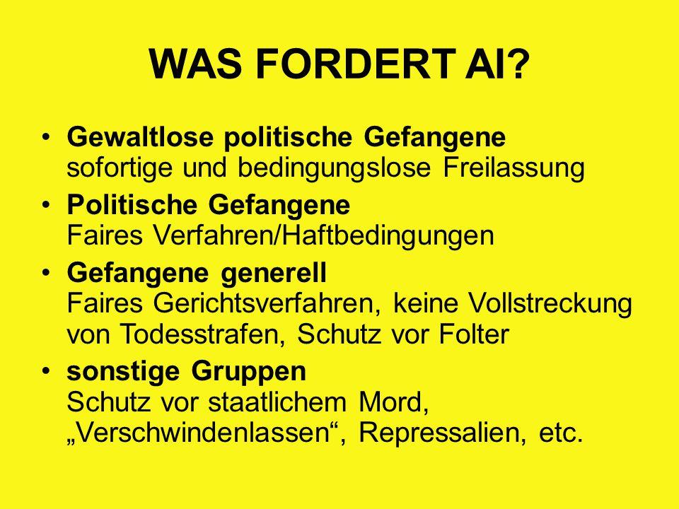 WAS FORDERT AI? Gewaltlose politische Gefangene sofortige und bedingungslose Freilassung Politische Gefangene Faires Verfahren/Haftbedingungen Gefange