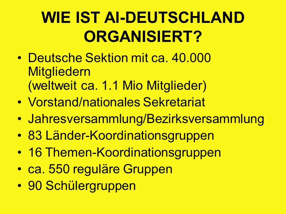 WIE IST AI-DEUTSCHLAND ORGANISIERT? Deutsche Sektion mit ca. 40.000 Mitgliedern (weltweit ca. 1.1 Mio Mitglieder) Vorstand/nationales Sekretariat Jahr