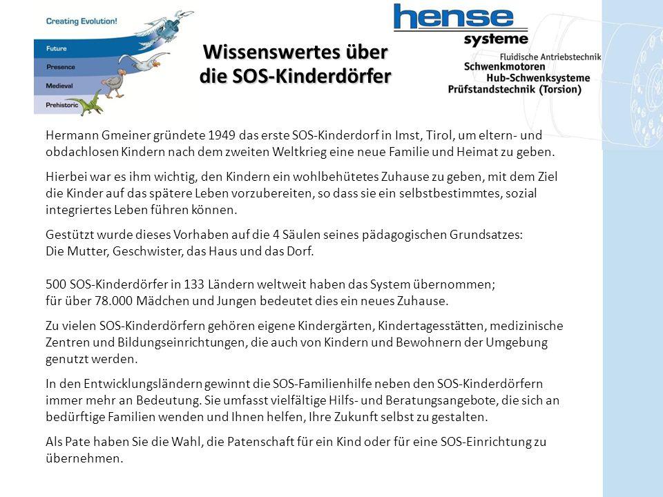 Wissenswertes über die SOS-Kinderdörfer Hermann Gmeiner gründete 1949 das erste SOS-Kinderdorf in Imst, Tirol, um eltern- und obdachlosen Kindern nach