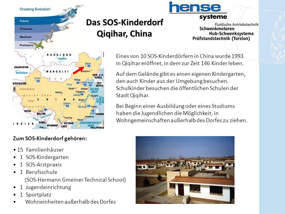 Eines von 10 SOS-Kinderdörfern in China wurde 1993 in Qiqihar eröffnet, in dem zur Zeit 146 Kinder leben. Auf dem Gelände gibt es einen eigenen Kinder