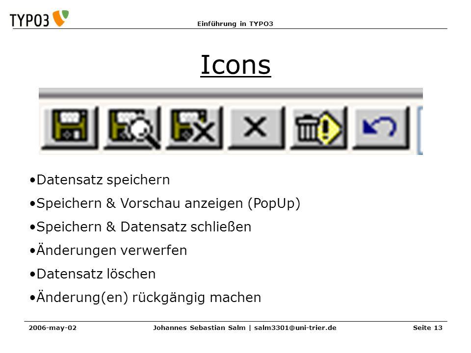 Einführung in TYPO3 2006-may-02Johannes Sebastian Salm | salm3301@uni-trier.deSeite 13 Icons Datensatz speichern Speichern & Vorschau anzeigen (PopUp) Speichern & Datensatz schließen Änderungen verwerfen Datensatz löschen Änderung(en) rückgängig machen