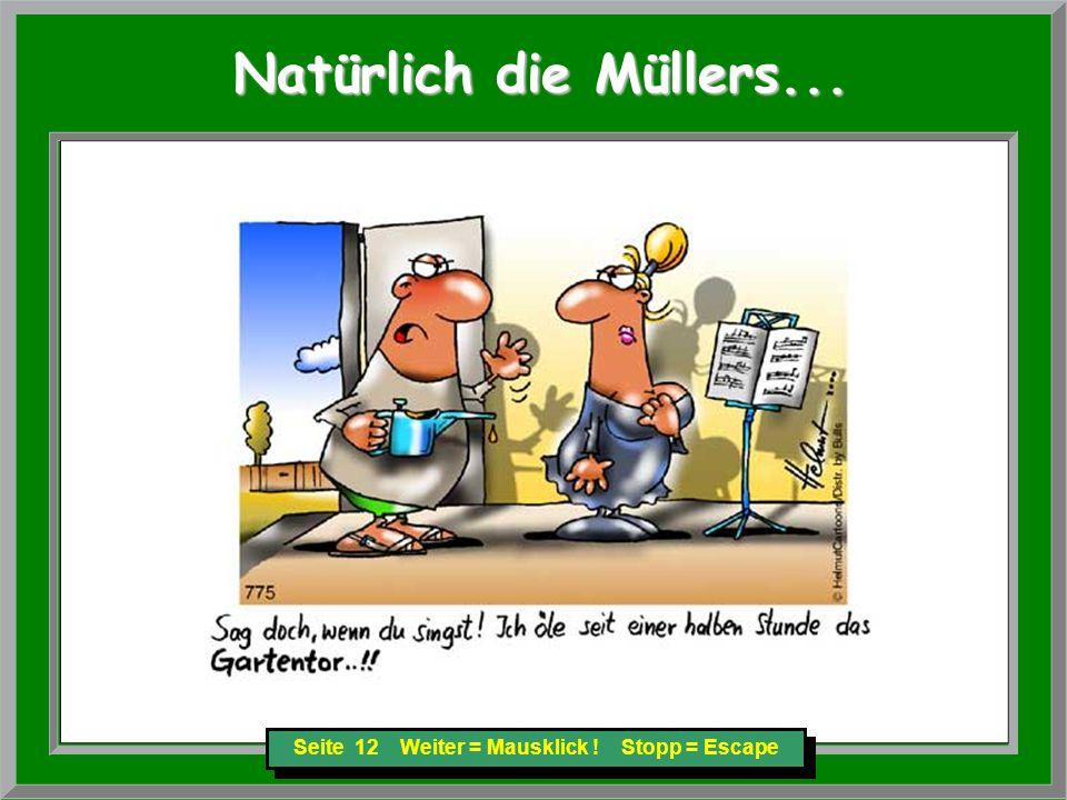 Seite 12 Weiter = Mausklick ! Stopp = Escape Natürlich die Müllers... Natürlich die Müllers...