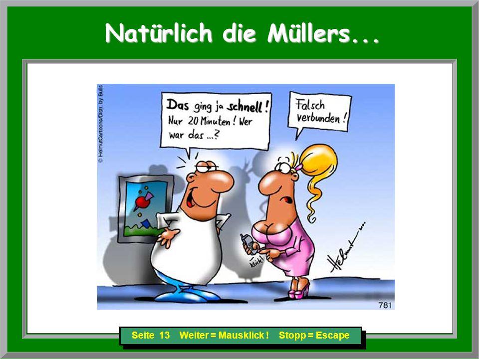 Seite 13 Weiter = Mausklick ! Stopp = Escape Natürlich die Müllers... Natürlich die Müllers...