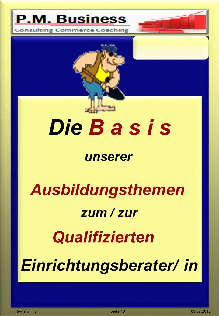 unserer Ausbildungsthemen zum / zur Qualifizierten Einrichtungsberater/ in Die B a s i s Revision 0 Seite 18 09.07.2013