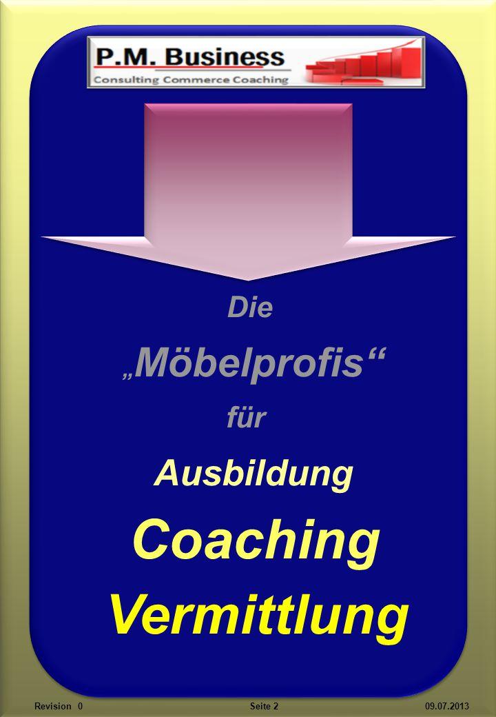 """Die """" Möbelprofis für Ausbildung Coaching Vermittlung Revision 0 Seite 2 09.07.2013"""